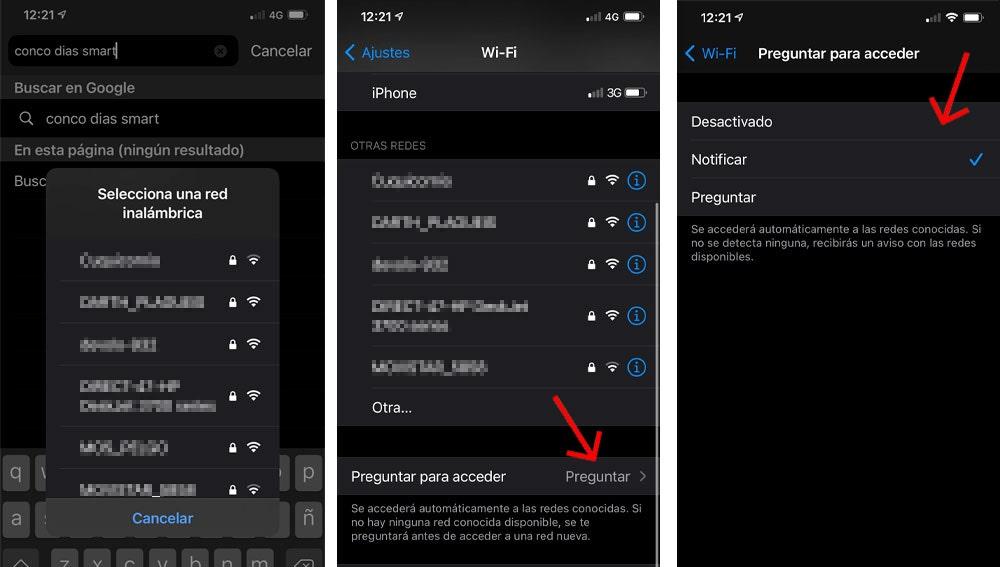 Preguntar antes de acceder a redes wifi.