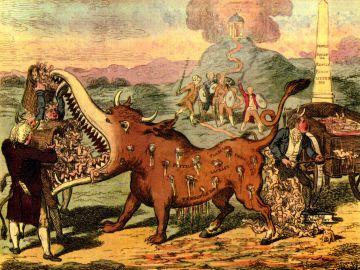 Viñeta satírica sobre las consecuencias de las vacunas, 1802