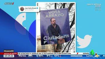 Juan Carlos Girauta trolea a Ciudadanos por la campaña electoral de los abrazos