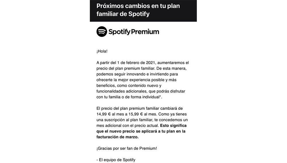 Comunicación de Spotify Premium