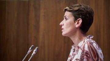 La presidenta de Navarra, María Chivite, en una rueda de prensa el pasado mes de octubre