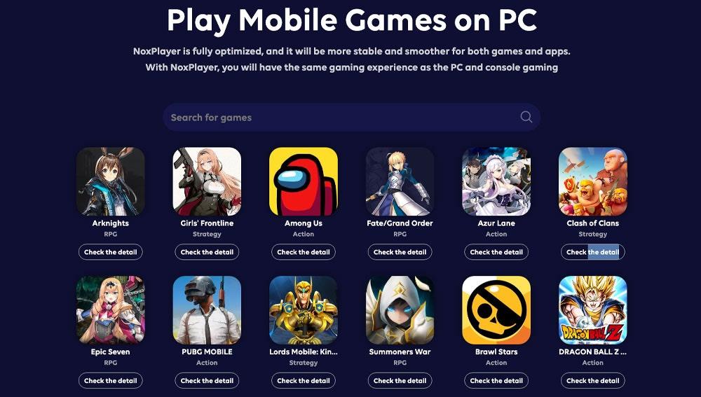 Juegos compatibles con NoxPlayer en PC.
