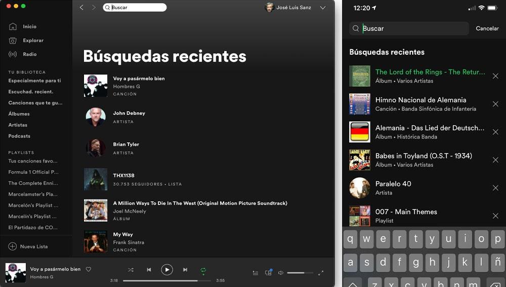 Búsquedas recientes de Spotify en PC (i) y smartphone (d).