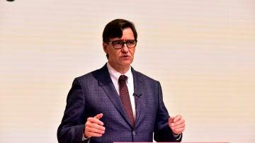 El candidato del PSC, Salvador Illa, en un encuentro con la prensa en Cataluña
