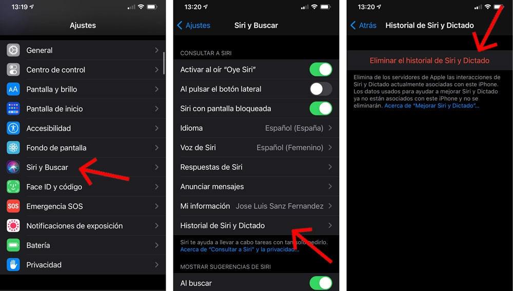 Cómo eliminar el historial de búsquedas de Siri.