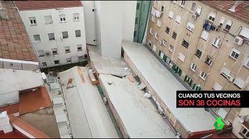"""Instalan 38 cocinas industriales y una chimenea de siete pisos en medio de un patio de vecinos: """"No vamos a poder abrir la ventana"""""""