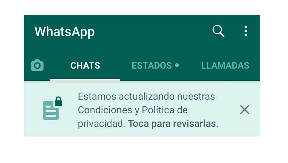Nuevo banner de condiciones en WhatsApp
