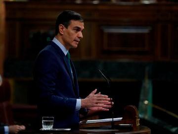 l presidente del Gobierno, Pedro Sánchez, interviene este miércoles durante la sesión de control en el Congreso de los Diputados