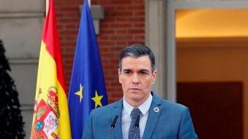 Pedro Sánchez en una comparecencia desde Moncloa