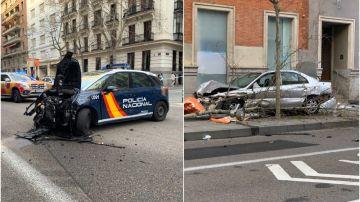 Imagen de los coches implicados en el accidente en la calle Serrano