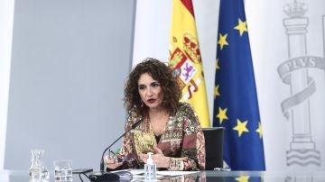 La ministra de Hacienda y portavoz del Gobierno, María Jesús Montero, durante la rueda de prensa posterior al Consejo de Ministros, en Madrid