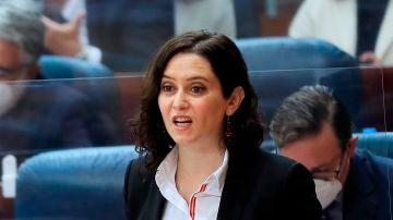 La presidenta de la Comunidad de Madrid, Isabel Díaz Ayuso, durante su intervención en la Asamblea.