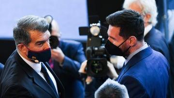 Joan Laporta y Leo Messi en la investidura del nuevo presidente del FC Barcelona