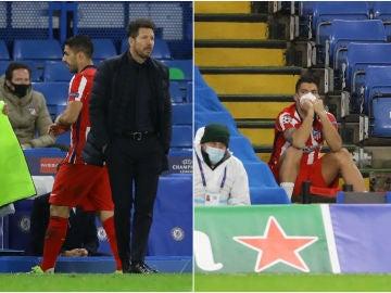 Luis Suárez, con gesto contrariado tras el cambio de Simeone en el minuto 59