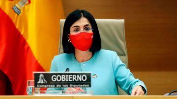 La ministra de Sanidad, Carolina Darias, en el Congreso de los Diputados