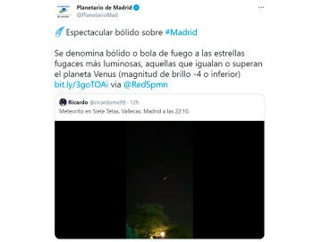 Una enorme bola de fuego atraviesa el cielo de Madrid