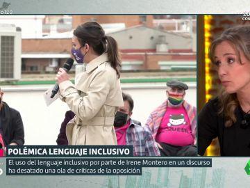 Tania Sánchez defiende el uso del lenguaje inclusivo de Irene Montero