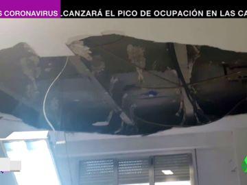 Desprendimiento del falso techo en el Gregorio Marañón