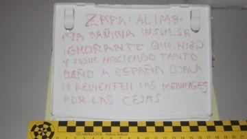 La nota dirigida al expresidente socialista José Luis Rodríguez Zapatero