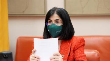 La ministra de Sanidad, Carolina Darias, durante una comparecencia en el Congreso de los Diputados.