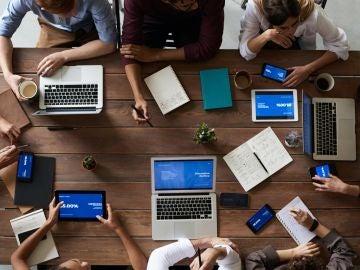 Imagen de archivo de una reunión de trabajo en una empresa