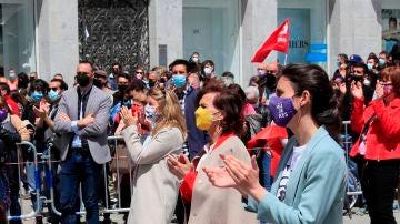 Yolanda Díaz, Carmen Calvo e Irene Montero, en la manifestación del Primero de Mayo