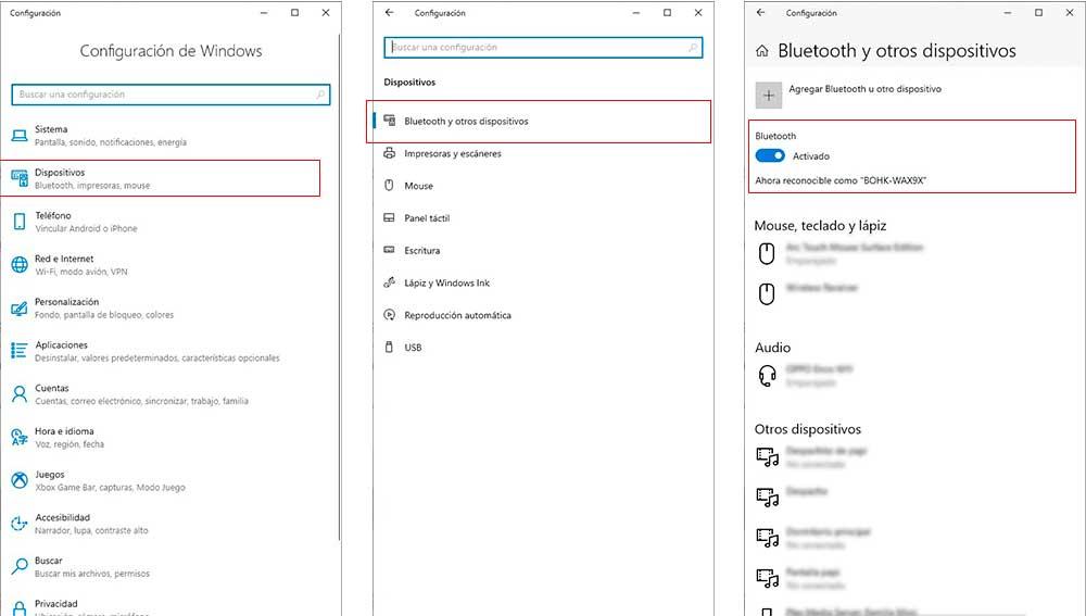 Activando Bluetooth en Windows 10