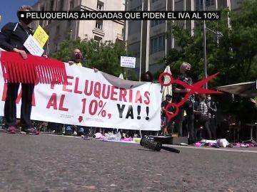 Protesta del sector de la peluquería