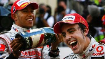 Lewis Hamilton y Fernando Alonso en el GP de Mónaco de 2007