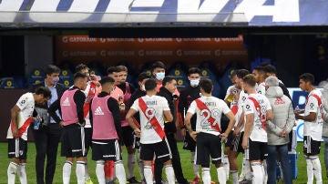 Jugadores de River en el partido frente a Boca Juniors