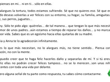 carta madre al padre de niñas
