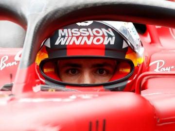 Carlos Sainz, en el Ferrari
