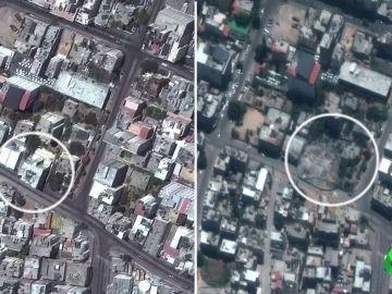 Antes y después de los bombardeos en Gaza