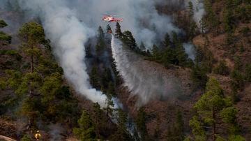 Un helicóptero del Gobierno de Canarias descarga agua sobre una de las zonas del incendio en el municipio de Arico