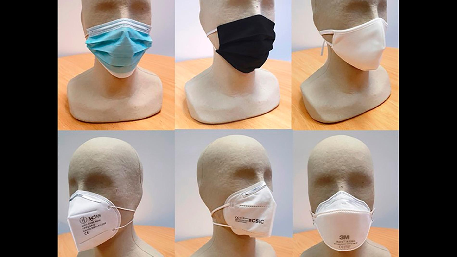 El estudio analiza mascarillas quirúrgicas, de tela, FFP2, KN95 y FFP3.
