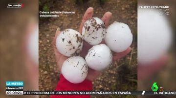La fuerte granizada que cayó en Requena (Valencia): bolas de hielo como pelotas de golf