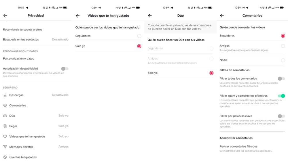 Configurando la privacidad en TikTok