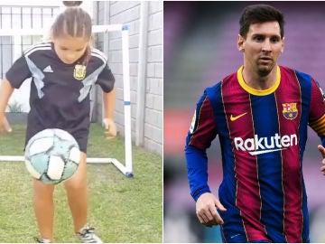 Felicitas Flores, fan de Messi dando toques a un balón / Leo Messi, con el Barcelona