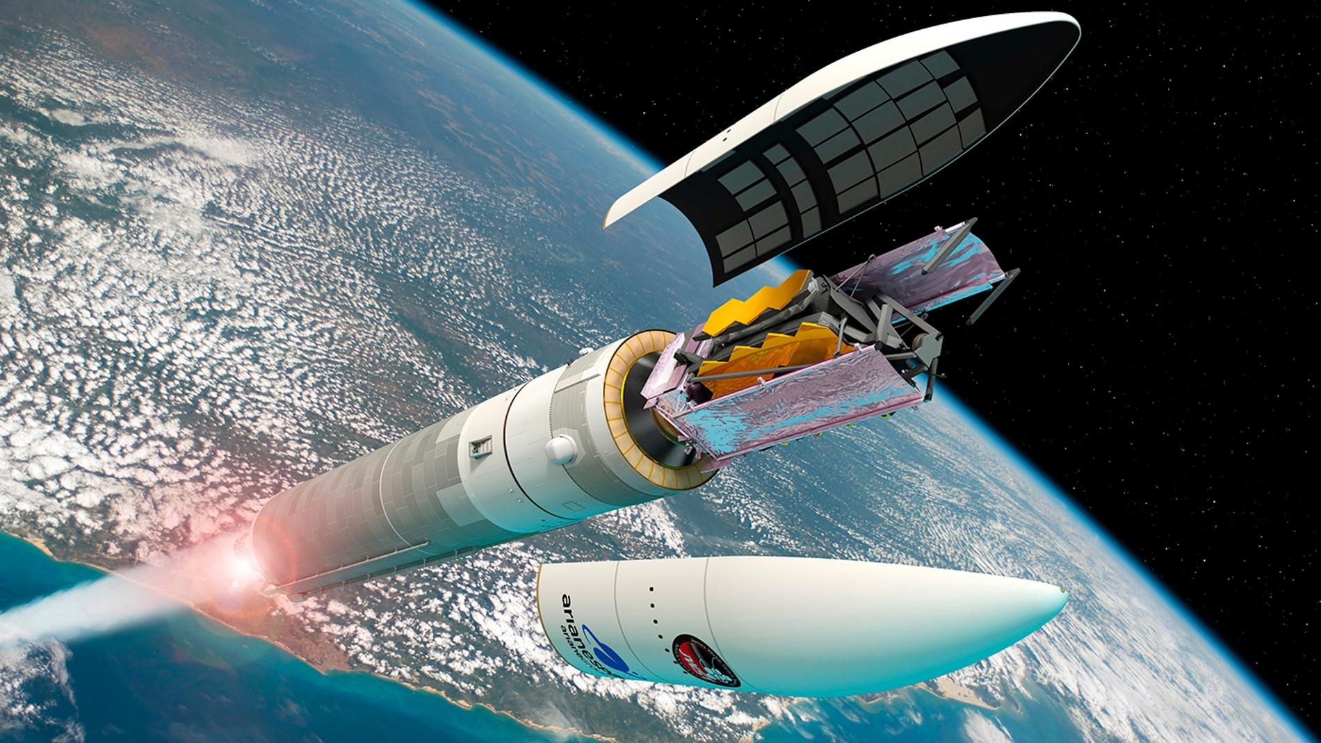 Telescopio espacial James Webb en un lanzador Ariane 5