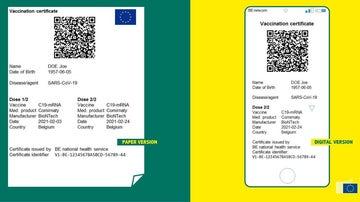 Así es el certificado de vacunación creado por la UE, en sus versiones de papel y móvil