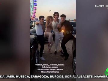 La familia de Óscar Casas la lía en el preestreno de 'Xtremo', su nueva película