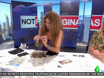 Angie Cárdenas muestra en Aruser@s un saco lleno de pesetas