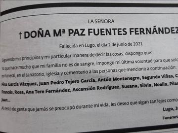 Esquela de María Paz Fuentez Fernández