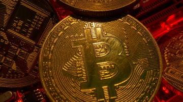 Representación de una moneda de bitcoin