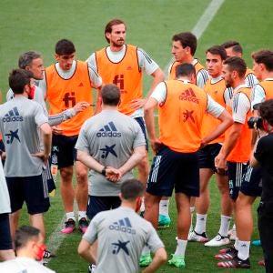 La selección española en un entrenamiento