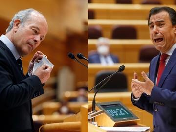 El ministro de Justicia Juan Carlos Campo y el senador del PP Fernando Martínez-Maíllo durante la sesión de control al Gobierno en el Senado