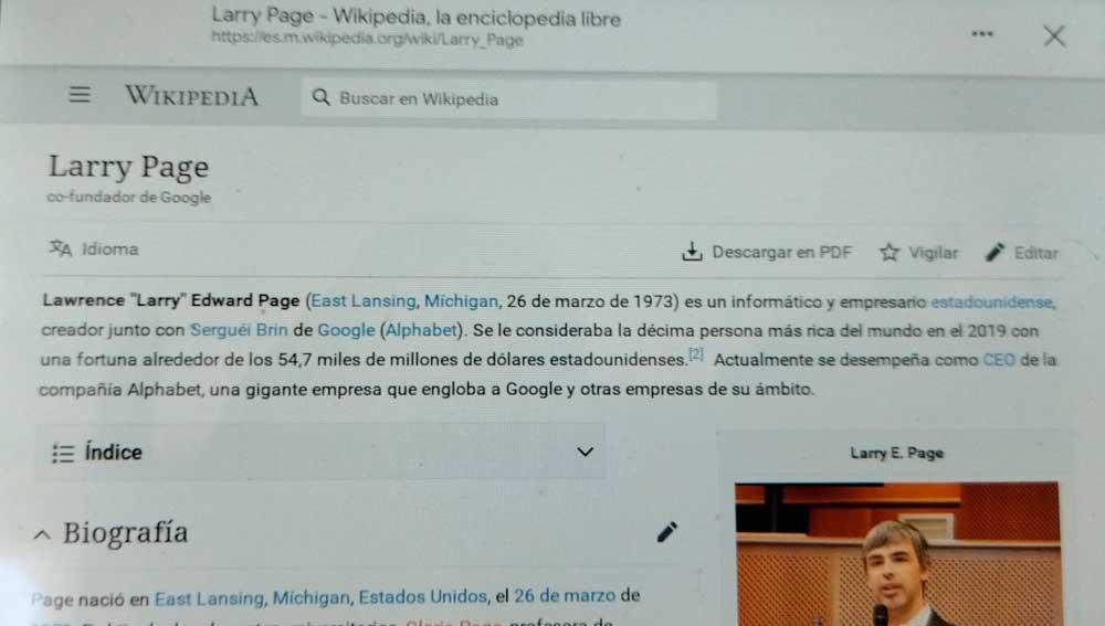 Mostrando la página de Wikipedia