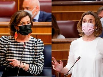 Carmen Calvo y Cuca Gamarra en el Congreso