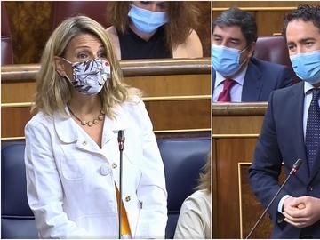 En la imagen, Yolanda Díaz y Teodoro García Egea