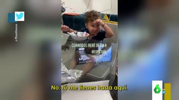 """""""Me tienes estresado"""": la respuesta viral de un bebé que trata de hacerse respetar ante su padre"""